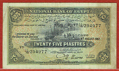 $50 • Buy NATIONAL BANK OF EGYPT 4.8.1942 25 PIASTRES  NIXON SIGNATURE P-10c VF