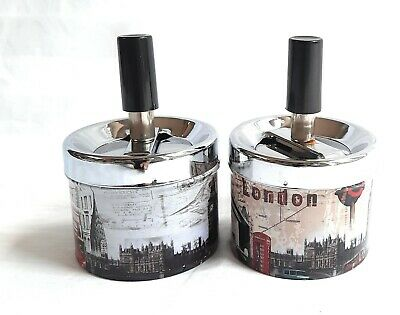 Ashtray Spinning Metal Cigarette Smoking.set Of 2pc.London Icons Design Printed • 4.95£