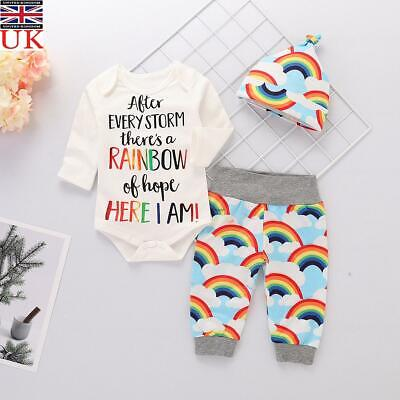 Newborn Baby Girl Boy Rainbow Romper Tops Jumpsuit Outfits Clothes +Pants+Hat • 7.59£