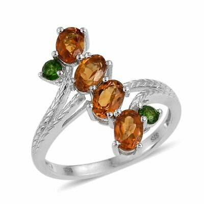 £25.55 • Buy Madeira Citrine , Russian CHROME DIOPSIDE RING In Plat / Sterling Silver 1.86 Ct