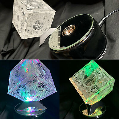 Hellraiser Puzzle Box Laser Engraved Clear Box With Rotating Light Stand • 57.71£