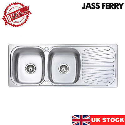 £119.99 • Buy JASS FERRY Inset Stainless Steel Kitchen Sink Double Bowl Reversible Drainer