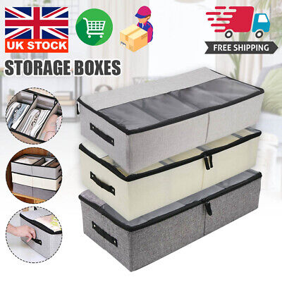 New Canvas Clothes Shoes Organizer Under Bed Storage Bag Box Compartments UK • 8.99£