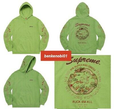 $ CDN394.83 • Buy Supreme SMALL Dragon Overdyed Hooded Sweatshirt Hoodie Lime Green Embroidery