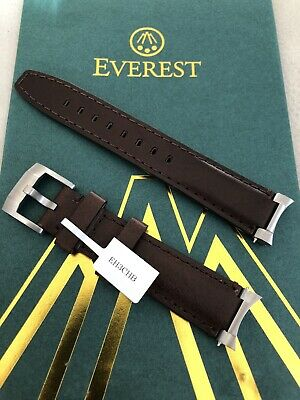 Everest Strap  20mm Steel End Link Chocolate Brown Leather Watch Band • 150£