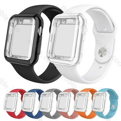 $ CDN8.56 • Buy For Apple Watch Series 5 4 3 2 1 IWatch Silicone Band + Full Body Protector Case