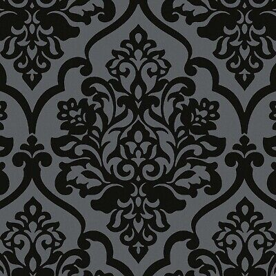 Exclusive Katerina Flock Velvet Black Damask Wallpaper (J115) • 29.99£