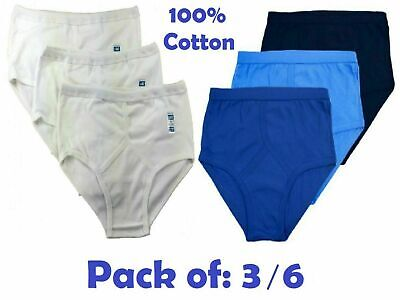 Mens Y Fronts 100% Cotton Briefs Underwear White Blue Under Wear Pants S > 5XL • 6.99£