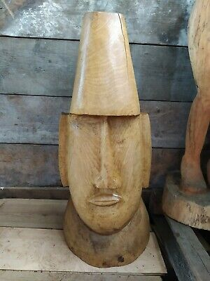 £100 • Buy Sussex Chainsaw Carving Elm Easter Island Head Home Or Garden Statue Sculpture