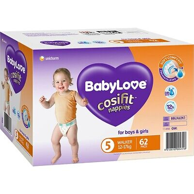 AU27 • Buy BabyLove Cosifit Jumbo Nappies 12-17kg Walker 62 Pack