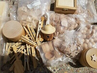 $2.99 • Buy Box Lot Of Wooden Craft Parts - Keep The Kids Occupied Letters, Heart, Star ++++