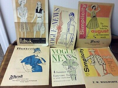 $14.99 • Buy 6 Vintage Paper Books From Vogue, Butterick, And Simplicity Showing The Styles