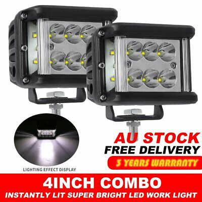 AU39.99 • Buy 2X 4 Inch Side Shooter Cube LED Work Lights Bar Pod Flood Offroad Driving Truck