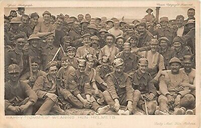 WW1 ARMY Vintage Old MILITARY Postcard - Soldiers, TOMMIES Wearing Hun Helmets • 0.99£