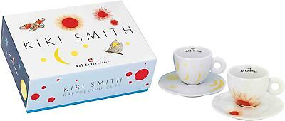Illy KIKI SMITH Art Collection 2 Cappuccino Cups + Saucer NEW IN BOX • 150.20£