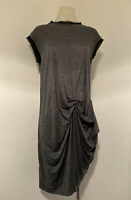 AU40 • Buy Scanlan Theodore Grey Wool & Viscose Drapey Fitted Dress.  Size 10