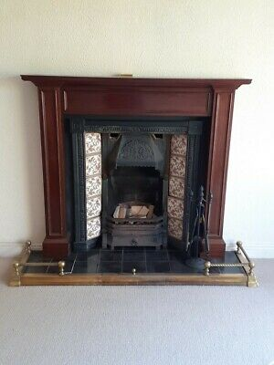 Victorian Style Cast Iron Tiled Insert Fireplace With Mahogany Surround • 140£