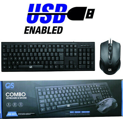 Computer PC USB UK Black Keyboard And Mouse USB Wired Combo Set QWERTY KB-G17  • 9.99£