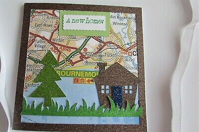 Handmade Die Cut New Home Card, 5 X 5 In, House, Tree And Map Of Your Choice • 1.99£