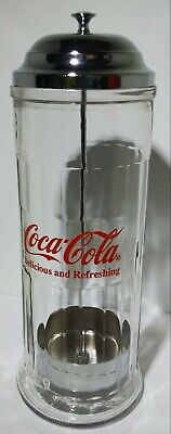 $22.49 • Buy Vintage 1992 Coca-Cola Glass Straw Dispenser W/ Chrome Plated Metal Lid Canister