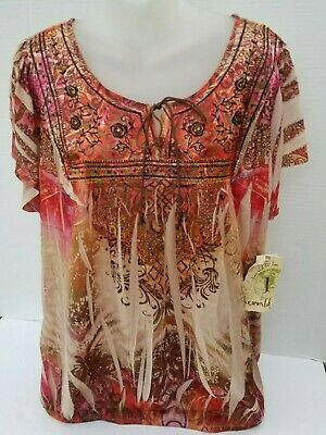 $22.99 • Buy NWT Plus Size ONE WORLD LIVE AND LET LIVE  Embellished Sublimation Top Shirt 2X