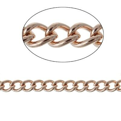 10m Curb Chain Rose Gold Plated  - 3.3mm X 2.4mm • 3.20£