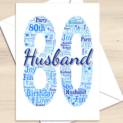 £2.97 • Buy Personalised 50th 60th 70th 80th Birthday Card For Husband, Wife, Dad, Mum