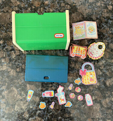 $5 • Buy Vintage Little Tikes Dollhouse Doll Accessories Toybox Chest Toy Box Green Blue