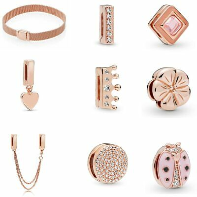 925 Silver Rose Gold Reflections Clip Charms Compatible Reflexion Mesh Bracelets • 11.95£
