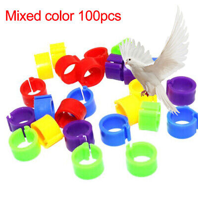 UK_ FM_ 100pcs Bird Rings Leg Bands For Pigeon Parrot Finch Canary Poultry Rings • 2.73£