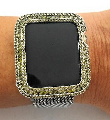 $ CDN113.48 • Buy Series 1,2,3 Bling Apple Watch Bezel Face Cover Silver Olive Green Zirconia 38mm