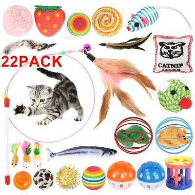 AU18.39 • Buy 22Pcs Bulk Cat Toys Kitten Rod Mouse Feathers Kits Balls Fur Scratch Teaser Rat