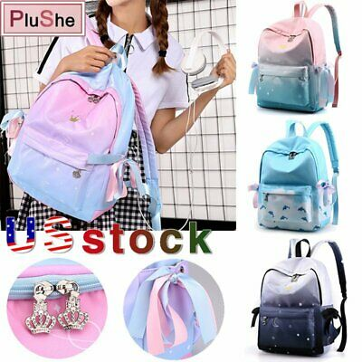 $18.99 • Buy Girl Crown Embroidery Student School Bag Gradient Color Backpack Side Lace Up