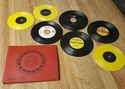 $9.99 • Buy Vintage 7  Record 45 Rpm Holder 4 Sleeve Album Book 1950s Leather Paper Inserts