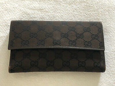 $97 • Buy GUCCI GG Brown Canvas/ Leather Long Wallet Clean!