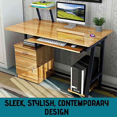 AU159.99 • Buy Computer Table Study Desk Home Office Work PC Station Book Shelf Drawers Storage