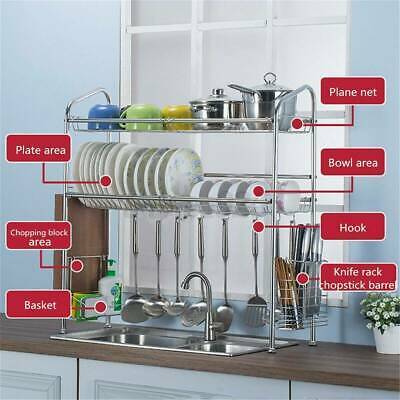 AU58.10 • Buy 2 Tier Dish Drying Rack Drainer Kitchen Storage Holder Over Sink Stainless Steel