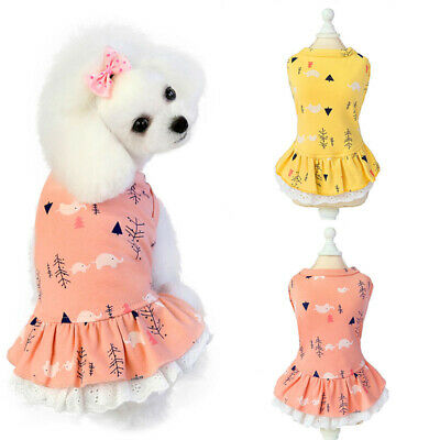 Cotton Cat Dog Dress Skirt Summer Print Pet Clothes Small Dogs Chihuahua Dresses • 3.62£