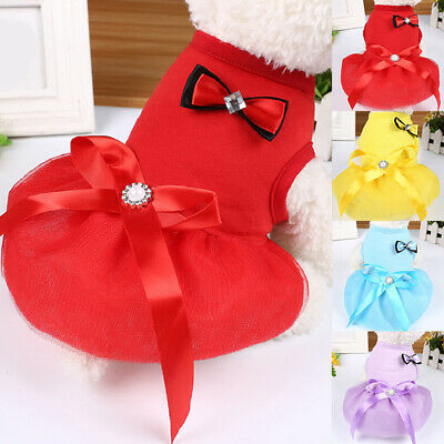 Pet Dog Bow Tutu Skirt Dress Summer Breathable Puppy Chihuahua Small Dog Dresses • 3.18£