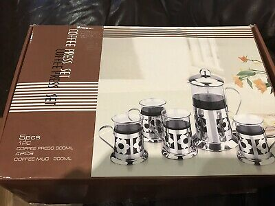 French Press Tea And Coffee Maker 5 Piece Set New  • 15£