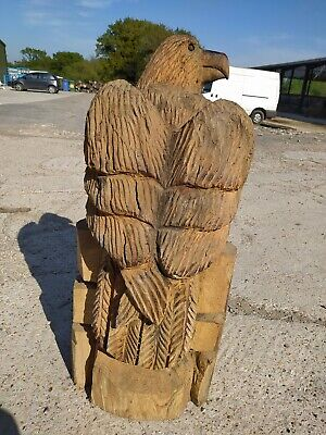 Sale Sussex Chainsaw Elm Eagle  Wood Carving   Home Garden Rustic Sculpture  • 160£