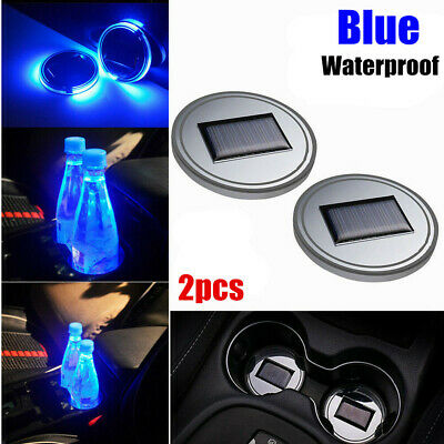 $11.99 • Buy 2pcs Solar Cup Pad Car Accessories LED Light Cover Interior Decoration Lights
