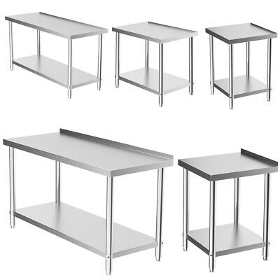 Stainless Steel Commercial Catering Table Kitchen Food Prep Shelf Work Bench Top • 187.14£