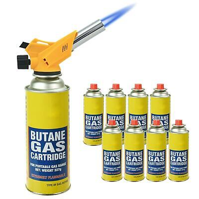 Butane Gas Canisters + Lighter Blow Torch Flame Kitchen Chefs Refillable BBQ • 15.99£