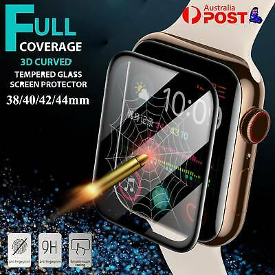 AU5.99 • Buy For Apple Watch 6/5/4/3/2 SE Tempered Glass Full Screen Protector 38/42/40/44mm