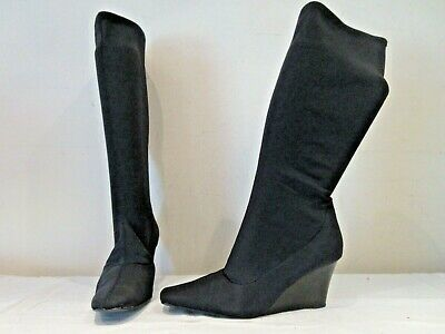 Fiore Black Stretch Mid Height Wedge Sole Pull On Boots Uk 7 (a3) • 12£