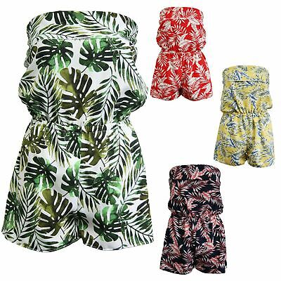 New Womens Ladies Playsuit Jumpsuit Leaf Shorts Bandeau Elasticated Summer • 9.99£