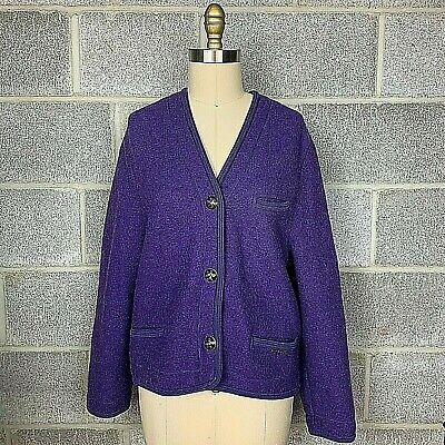 $70 • Buy Geiger Womens Jacket Cardigan Wool Purple Colorful Button Down Pockets Size 40