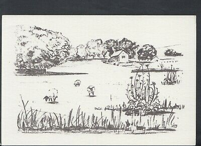 £2.31 • Buy Sussex Postcard - Artist Charcoal Drawing Of Coombes And Church Farm  RR7050