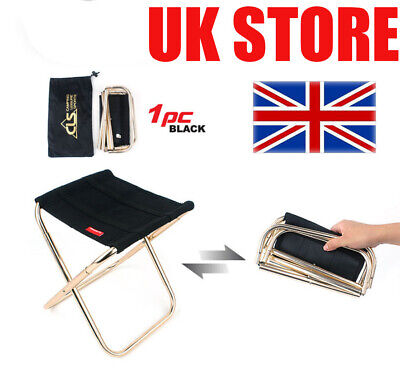Portable Folding Chair Foldable Stool Seat Aluminum Fishing Camping Outdoor • 9.99£